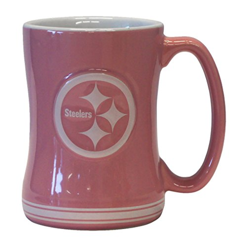 (NFL Pittsburgh Steelers Pink Sculpted Relief Mug, 14-ounce)