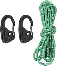 2Pcs Rope Tightener Rope Ratchet Cord Tensioner Tie‑Down Rope Carabiner Cord Tensioner Hook Camping Tent Faste