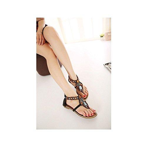Moda de las mujeres del verano de Bohemia de los zapatos sandalias planas Negro
