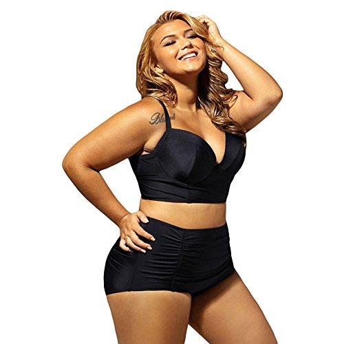 Erica Bikinis Halter de la playa de las mujeres más tamaño dos pedazos fijaron el traje de baño bajo cortó el subwoofer subrayado de la subida alta Black
