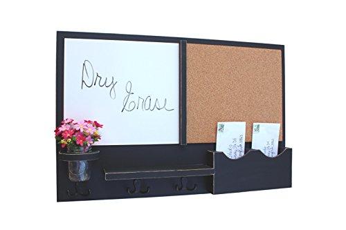 Bulletin Letter (Legacy Studio Decor Message Center with White Board & Cork Board Letter Holder Coat Rack Key Hooks (Distressed, Black))