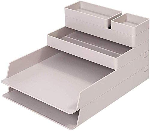 Soul hill 6-teiliges Set Schreibtisch-Organisatoren, ABS Resin stapelbare for Heim und Büro (Farbe: Grau)
