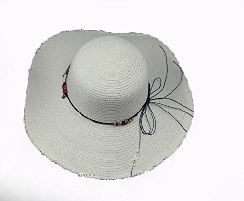 AMEA Summer hat, burr big brim hat, ladies beach sun hat, outdoor sun hat , cream white , l (58-60cm)