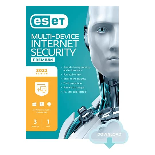 ESET Multi-Device Internet Security Premium | 2021 Edition | 3 Devices | 1 Year | Antivirus Software | Password Manager…