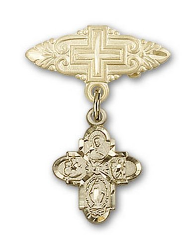Icecarats Or Bijoux De Créateurs Rempli Quatre Voies Broche De Badge Charme Avec Une Croix X 3/4