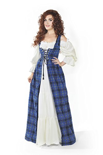 Scottish Highlander Tartan Renaissance Over Dress (XXS/XS, Blue) for $<!--$32.99-->