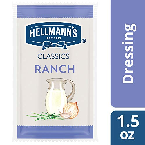 Ranch Salad Dressing Portion Control Sachets Gluten Free, No Artificial Flavors, Colors, added MSG or High Fructose Corn Syrup, 1.5 oz, Pack of 102 ()
