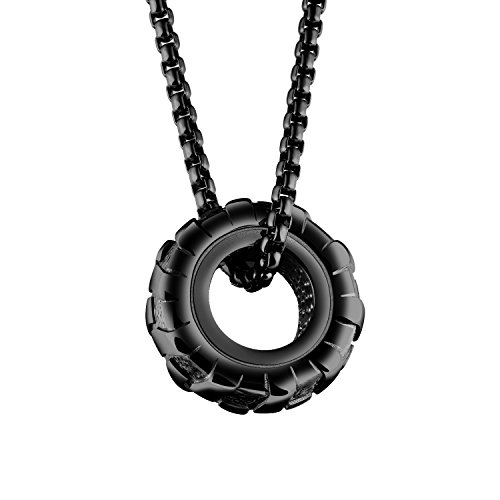 INRENG Men's Stainless Steel Large Heavy Wheel Tire Biker Pendant Necklace with Free Chain (black) ()