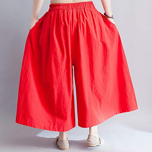 Eleganti Pantaloni Donna Gladiolusa Alta Larghi A Vita Albicocca Palazzo Rosso Estivi n58RxOwfqR