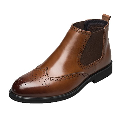KANGNAI Men's Chelsea Boots Genuine Leather Dress Boots Winter Slip On Comfortable Warm Brogue Shoes (9, Brown)