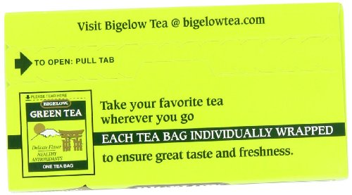 Bigelow Green Tea Bags, 20 Count Box (Pack of 6) Caffeinated Green Tea, 120 Tea Bags Total 6 DELICATE GREEN TEA: Our Classic Green Tea provides essential antioxidants making it delicious & healthy! Enjoy it as traditional hot tea or iced tea. INDIVIDUALLY WRAPPED: Bigelow tea always come individually wrapped in foil pouches for peak flavor, freshness and aroma to enjoy everywhere you go! Gluten -free, calorie-free, & Kosher certified. TRY EVERY FLAVOR: There's a tea for morning, noon & night time relaxation. Try our English Breakfast, Vanilla Chai, antioxidant Green Tea, decaffeinated, organic teas & a variety of our herbal tea bags.