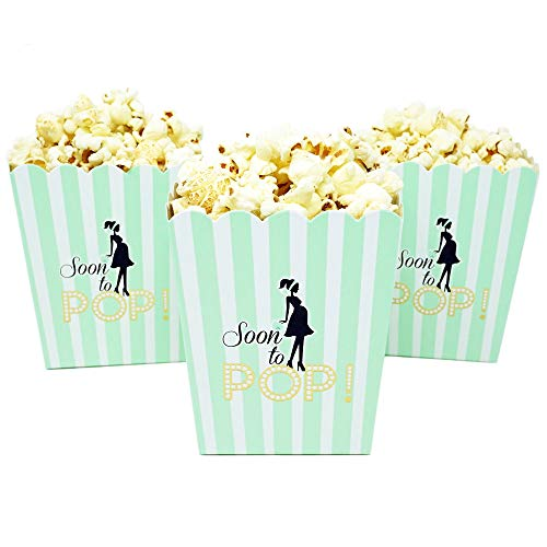 """""""Soon to Pop"""" Popcorn Favor Box for Baby Shower Party, Small Size, 20 Count by Chloe Elizabeth (Mint)"""