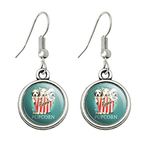 GRAPHICS & MORE Pupcorn Movie Theater Popcorn Dogs Humor Funny Novelty Dangling Drop Charm Earrings]()