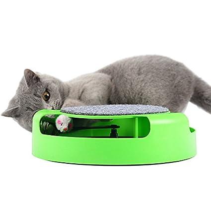 Zantec® Juguetes interactivos para gatos con un ratón corriendo y una almohadilla para arañar gato