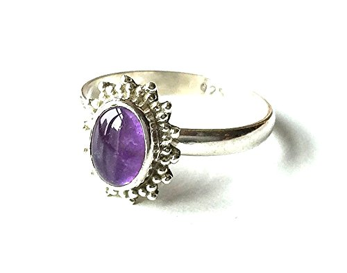 Shanya Sterling Silver Ethnic Ring Amethyst, made of Solid Silver and...
