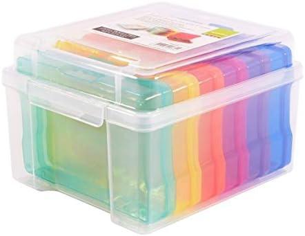 Vaessen Creative 1009-030 Aufbewahrungsbox con Tapa y 6 pequeñas Cajas de Colores, plástico clasificadores para Guardar Accesorios de Manualidades, Fotos y Otros Utensilios, 21 x 18,5 x 14 cm