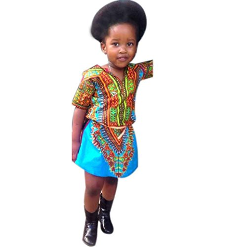 [GBSELL Little Girls Toddler Baby Clothes Africa Print Dress Outfit Casual Evening Party (Style 1,] (Halloween Dress For Toddler)