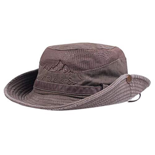 (PASHY Creative Sun Visor Windproof Fishing Hats Wide Brim Sun Protection Hat Outdoor Mesh Fishing Cap Coffee)