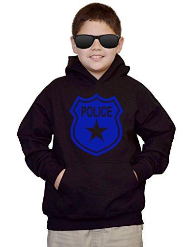 Youth Police Badge V497 Black kids Sweatshirt Hoodie Medium