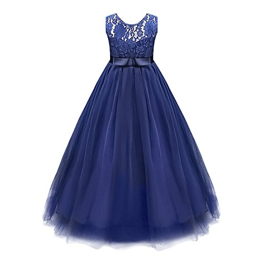 Big Girls Kids Lace Wedding Flower Princess Dress Tulle Bridesmaid Pageant Formal Dance Party Maxi Gown (Vintage Formal Gowns)