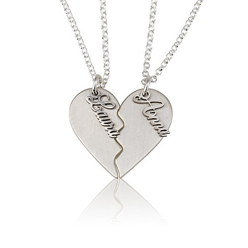 (BFF Necklace Couple's Breakable Heart Pendant -Personalize with Any Two Names (sterling-silver,)