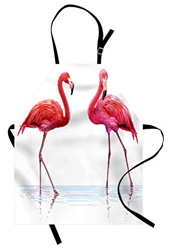 Ambesonne Animal Apron, 2 Hand Drawn Flamingos in Pink Colors on Seaside Tropical Wildlife Artwork, Unisex Kitchen Bib with Adjustable Neck for Cooking Gardening, Adult Size, Peach Scarlet ()