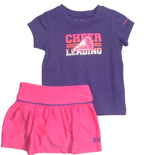[Under Armour Baby Girls' Cheerleading Baselayer Set, Chaos/Pride, 18 Months] (Cheerleader Outfit For Girls)