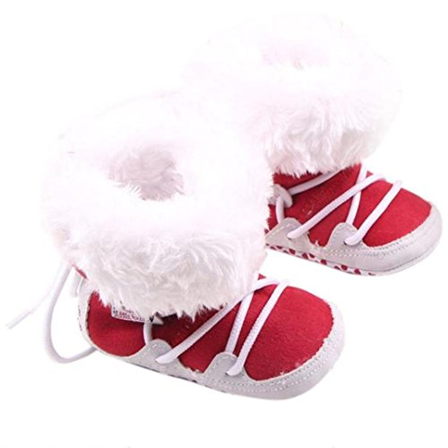 BUBA Baby Shoe, Infant Keep Warm Toddler Winter Boots (12, Red) (Girls Red Sequin Shoe Covers)
