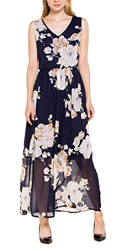 Chvity Womens Bohemian Floral Print Side Slit Long Maxi Dresses For Beach  L  Sleeveless Tank Dress
