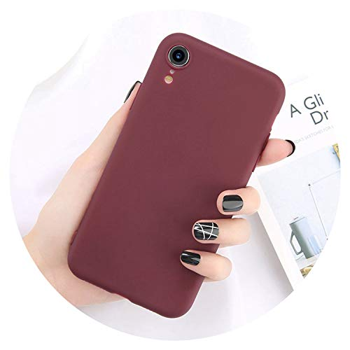 Phone Case for iPhone X 8 7 6 6S Plus 5 5S Fashion Simple Solid Color Ultra Thin Soft TPU Cover for iPhone Xr Xs Max,Wine Red,for iPhone 7 Plus