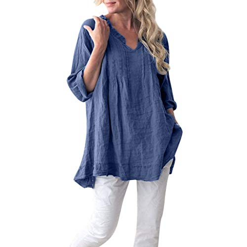 LUXISDE Summer Tops for Women Camis V Neck Short Sleeve Tanks Casual Solid Long Sleeve Ruffled Pleats Pullover Shirt Blouse