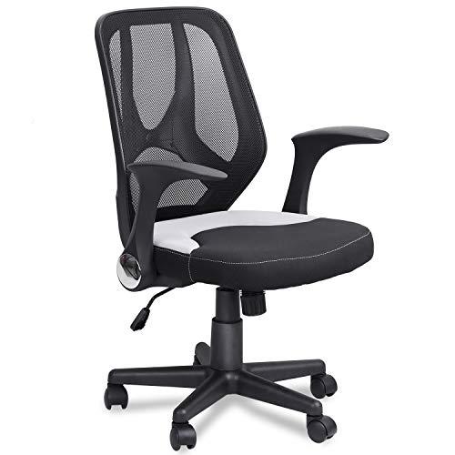 Mysuntown Mid-Back Office Chair, Mesh Task Chair, Executive Swivel Chair Adjustable Height (Black)