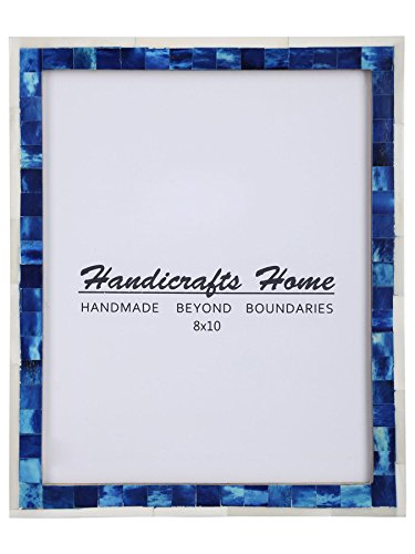 Handicrafts Home 8x10 Picture Photo Frame Mosaic Art Inspired Vintage Wall Décor Gift Frames [8x10 BLUE]