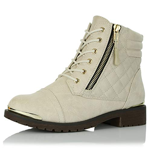 (DailyShoes Women's Military Lace Up Buckle Combat Boots Ankle High Exclusive Credit Card Pocket Frontal Metal Bootie, Ivory PU, 9 B(M) US )