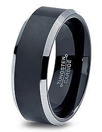 Tungsten Wedding Band Ring 6mm for Men Women Comfort Fit Black Beveled Edge Brushed Lifetime Guarantee