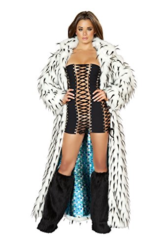 J. Valentine Women's Spike Faux Fur Coat Fully Lined, White/Black, One Size (Fur Coat Costumes)