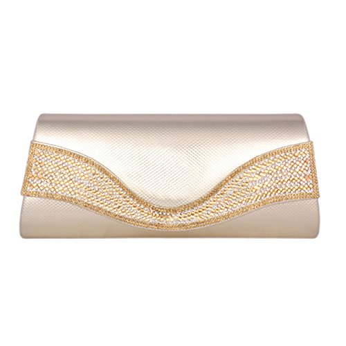 PU Evening Clasp Womens Bag Exquisite Damara Magnetic Gold Trapezoid gtHxw4qR