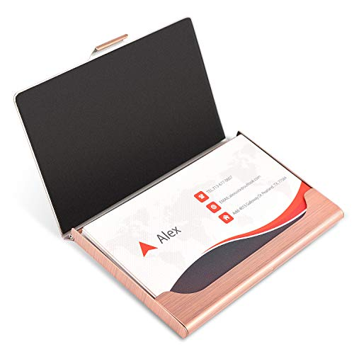 MaxGear Professional Metal Business Card Holder Pocket Business Card Case Slim Business Card Wallet Business Card Carrier for Men & Women, 3.7 x 2.3 x 0.3 inches, Stainless Steel, Rose Gold