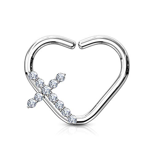 Fifth Cue 16G CZ Paved Cross Heart Shape 316L Surgical Steel Nose & Ear Cartilage Daith Hoop Ring & Side (Left or Right) (Right | Platinum/Clear) ()