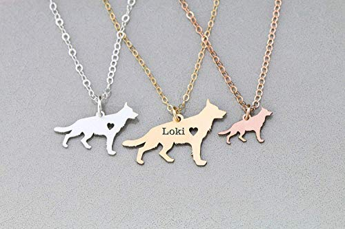 German Shepherd Dog Necklace - IBD - GSD Alsatian- Personalize with Name or Date - Choose Chain Length - Pendant Size Options - 935 Sterling Silver 14K Rose Gold Filled - Ships in 1 Business Day ()