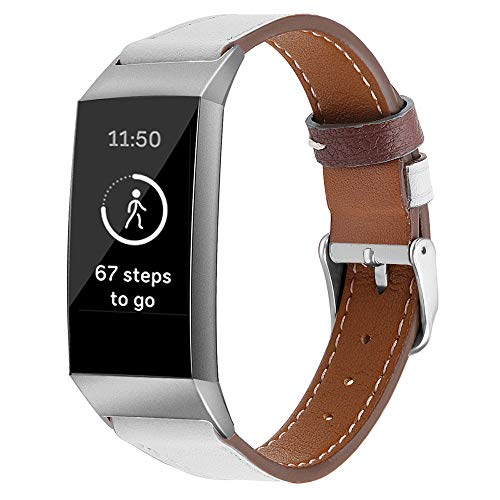 - AutumnFall 2018 New Classic Leather Wristband Band Bracelet for Fitbit Charge 3 Bands Women Men Replacement Watch Band,Band Length: 215 mm (White)