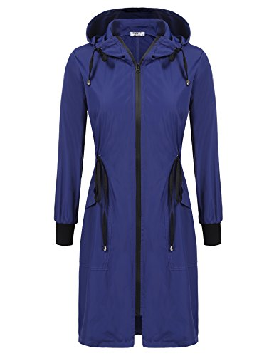 ELESOL Women's Long Rain Jacket Packable Breathable Waterproof Rain Coat Dark Blue S