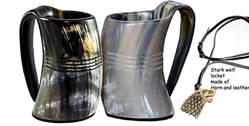 VIKING DRINKING HORN MUG (set of two) Handcrafted Ox Cup Goblet - Drink Mead & Beer Like Game of Thrones Heroes With This Large Tankard Stein - Great Craftsmanship A Perfect Present For Real Men