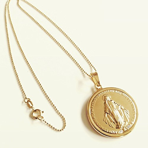 Miraculous medal necklace gold tone virgin mary big pendant 18k save aloadofball