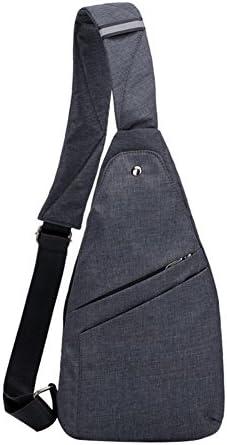 人造ファッションシンライトメンズキャンバス盗難防止旅行アウトドアショルダーチェストバッグ - ブルー