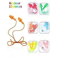 Honoson Corded Earplug Silicone Waterproof Ear Plugs Tree-Shape Reusable Cord Earplugs for Sleeping, Swimming, Bathing and Travel (Color Set 2, 12 Pieces)