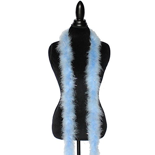 - Cynthia's Feathers Marabou Feather Boa 6 Feet Long 22 Grams Crafting Sewing Trim Hair Bows Wedding Halloween Costume (Light Blue w/Lurex Tinsel)