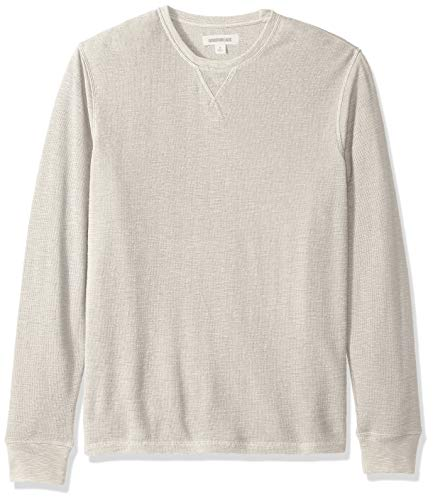 Goodthreads Men's Long-Sleeve Slub Thermal Crewneck, Heather Oatmeal, - Crew Thermal Lightweight