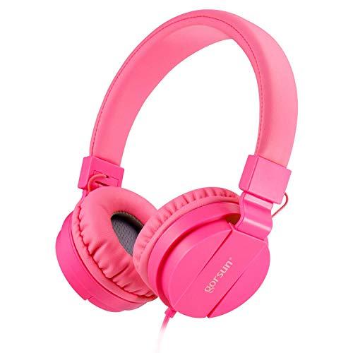 ONTA gorsun Foldable On Ear Audio Adjustable Lightweight Headphone for Kids Cellphones Smartphones iPhone Laptop Computer Mp3/4 Earphones (Pink)
