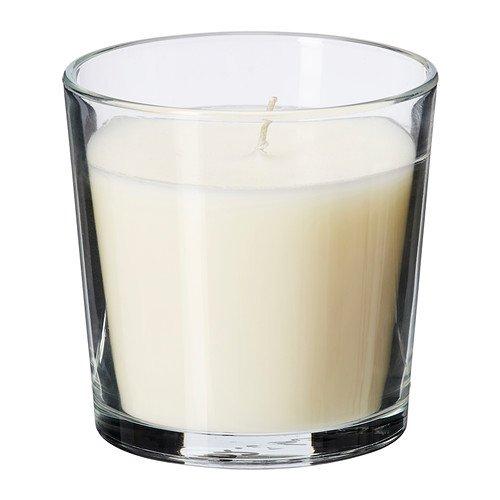 IKEA SINNLIG - Scented candle in glass, Vanilla pleasure, natural - 7,5 cm